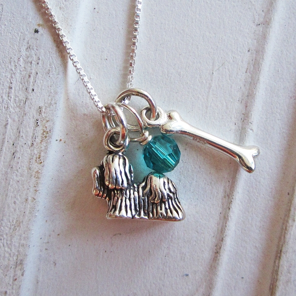 Yorkshire Terrier Dog Bone Mini Sterling Silver Necklace