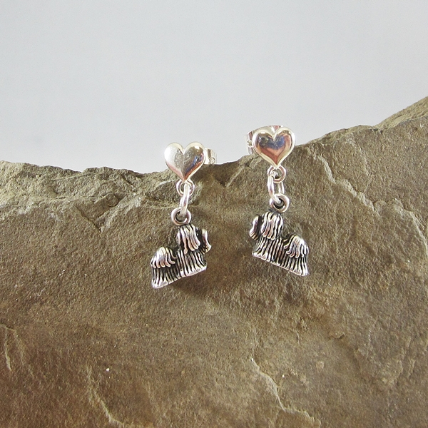 Yorkshire Terrier Mini Heart Sterling Silver Earrings