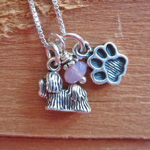 Yorkshire Terrier Mini Paw Print Sterling Silver Necklace