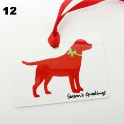 Labrador Silhouette Season's Greetings Christmas Ornament