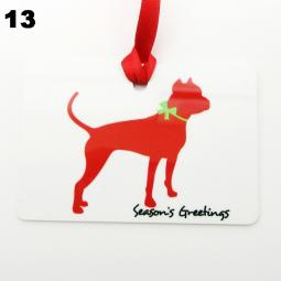 Pit Bull Silhouette Season's Greetings Christmas Ornament