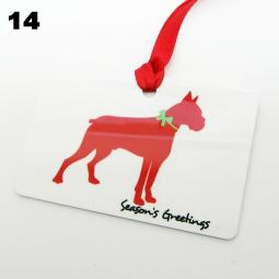 Boxer Silhouette Season's Greetings Christmas Ornament