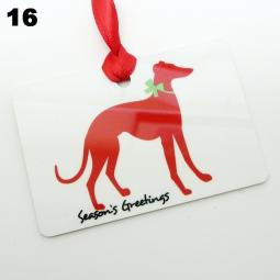 Greyhound Silhouette Season's Greetings Christmas Ornament
