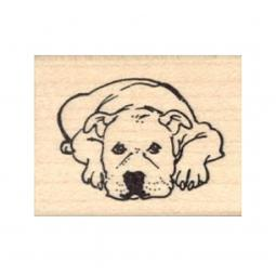 Pit Bull Lying Down Rubber Stamp
