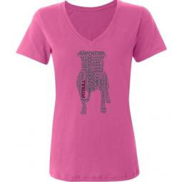 Pit Bull Text Ladies V-Neck T-Shirt - Azalea