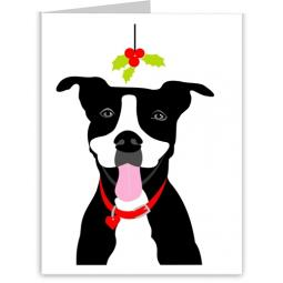 Pit Bull Mistletoe Christmas Note Cards (#10)