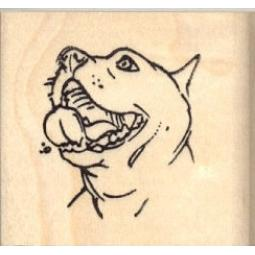 Smiling Pit Bull Face Rubber Stamp