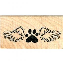 Paw Print Angel Wing Rubber Stamp