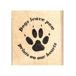Dogs Leave Paw Prints On My Heart Rubber Stamp