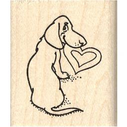 Dachshund Heart in Mouth Rubber Stamp