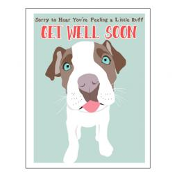 Get Well Soon Pit Bull Note Card