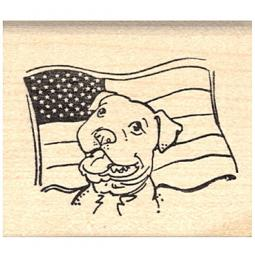 Pit Bull with American Flag Rubber Stamp