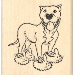 Pit Bull in Bunny Slippers Rubber Stamp