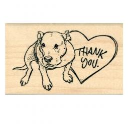 Pit Bull Thank You Rubber Stamp