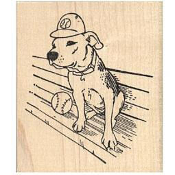 Pit Bull Wearing a Baseball Cap Rubber Stamp