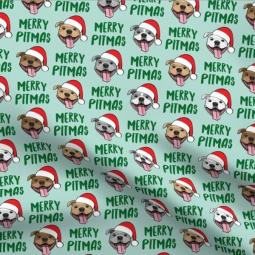 Merry Pitmas Mint Green Dogs Pleated Face Mask