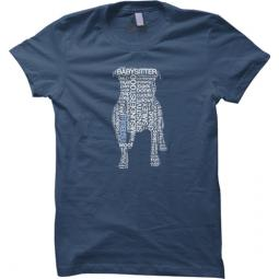 AS IS-Small Pit Bull Text Unisex LooseFit T-Shirt-Steel Blue w/W