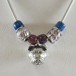 Pit Bull Beaded Pendant Sterling Silver Necklace