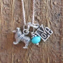 Sheltie Mini Sterling Silver Necklace