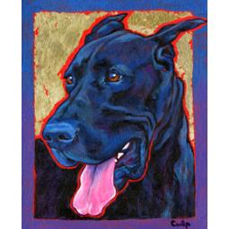 Smiling Black Great Dane Print