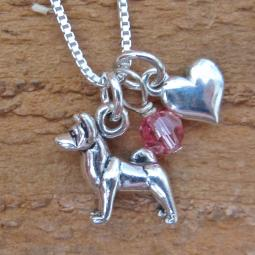 Akita Mini Heart Sterling Silver Necklace