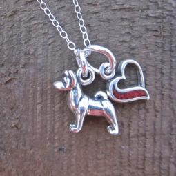 Akita In My Heart Mini Sterling Silver Necklace