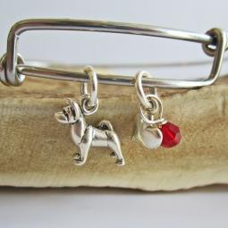 "Akita Mini Heart Stackable Bangle Bracelet (2.5""-3"")"