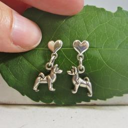 Akita Mini Heart Sterling Silver Earrings