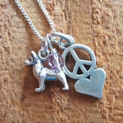 Akita Mini Peace Love Sterling Silver Necklace