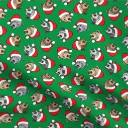 All the Pit Bulls Green Santa Hats Pleated Face Mask