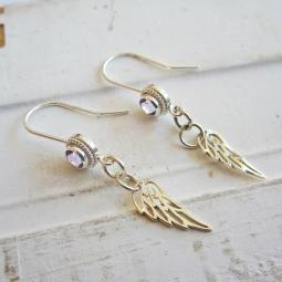 Amethyst Angel Wing Sterling Silver Earrings