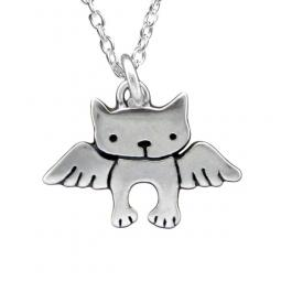 Angel Cat Sterling Silver Necklace