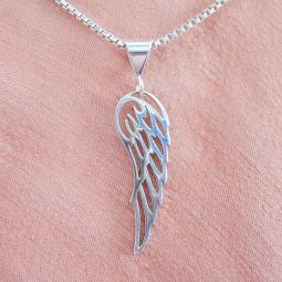 Angel Wing Large Sterling Silver Pendant Charm and Necklace