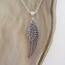 Angel Wing Large Pewter Pendant Charm and Necklace
