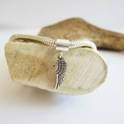 Angel Wing Mini 2D Slvr-Plated European-Style Charm and Bracelet