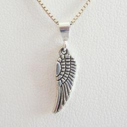Angel Wing Mini 2-D Silver-Plated Pendant Charm & Necklace