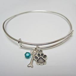 "Paw Print and Bone Stackable Bangle Bracelet (2.5""-3"")"