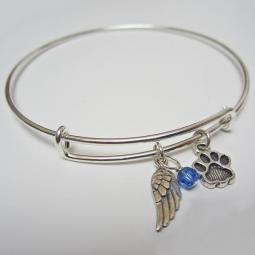 "Angel Wing and Paw Print Stackable Bangle Bracelet (2.5""-3"")"