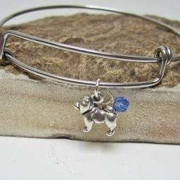 "Chow Mini Dangle Stackable Bangle Bracelet (2.5""-3"")"