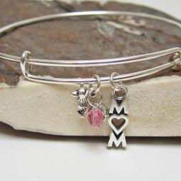 "Corgi Mom Stackable Bangle Bracelet (2.5""-3"")"
