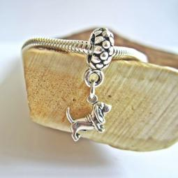 Basset Hound Mini Ster Silver European-Style Charm and Bracelet
