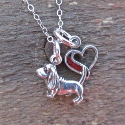 Basset Hound In My Heart Mini Sterling Silver Necklace