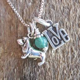 Basset Hound Love Mini Sterling Silver Necklace