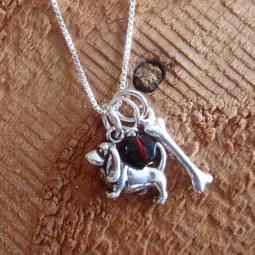 Basset Hound Dog Bone Mini Sterling Silver Necklace