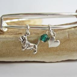 "Basset Hound Mini Heart Stackable Bangle Bracelet (2.5""-3"")"