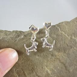 Basset Hound Mini Heart Sterling Silver Earrings