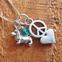 Basset Hound Mini Peace Love Sterling Silver Necklace