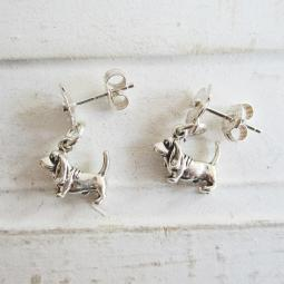 Basset Hound Poppy Sterling Silver Earrings