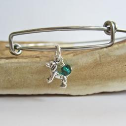 "Beagle Mini Dangle Stackable Bangle Bracelet (2.5""-3"")"