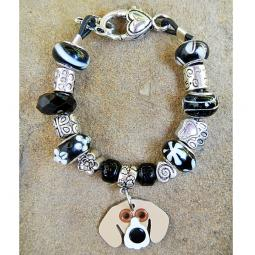 "Beagle 7.5"" Silver & Glass Bracelet (one of a kind)"